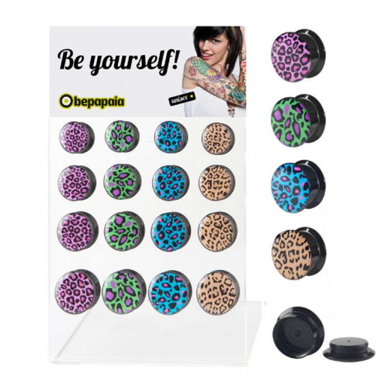 Acrylic ear plug leopard prints 14-20 mm