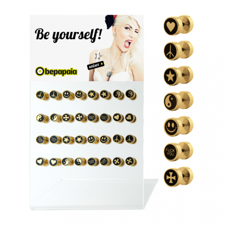 Gold steel fake plugs with assorted designs
