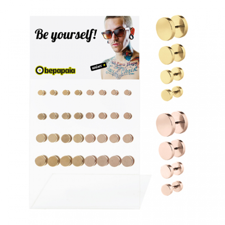 Gold and rose gold fake plugs plain without o-ring