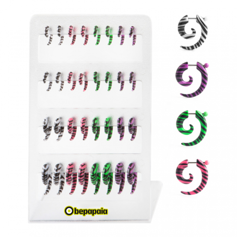 Acrylic Fake Expander Spiral with Zebra Colors