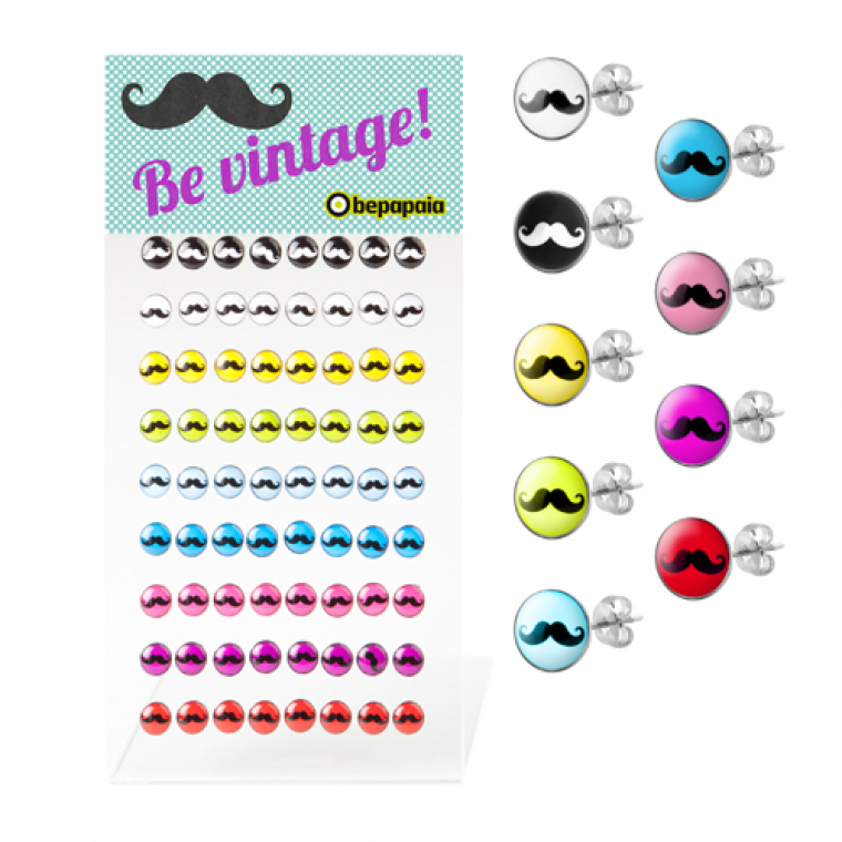 Steel stud earring moustache stamps