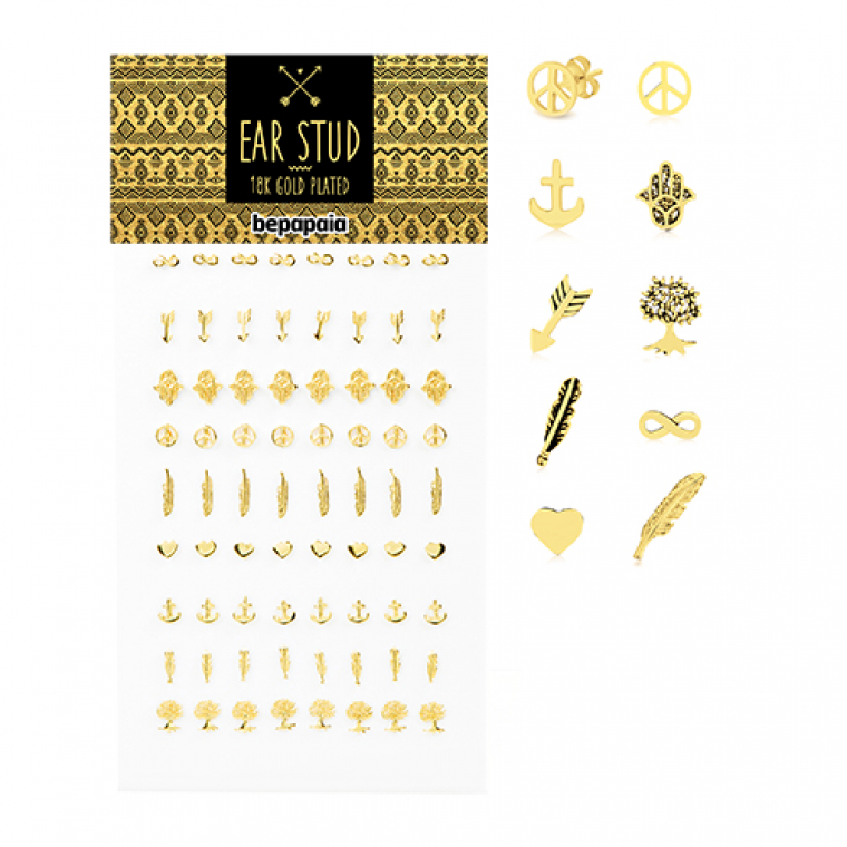Gold-plated silver ear studs with different designs