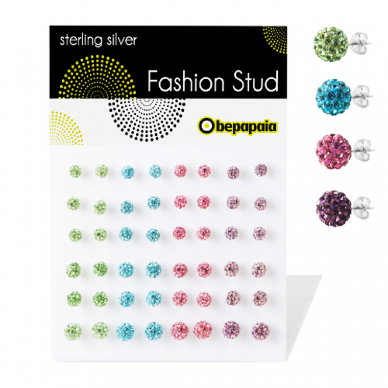 Silver stud multi crystal color ball