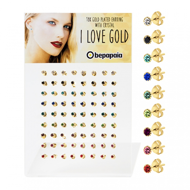 Gold plated silver earrings with gemstone