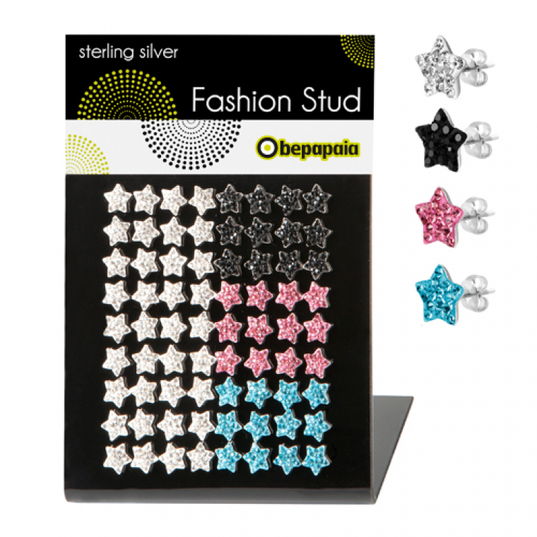 Silver stud with ferido crystals star shape