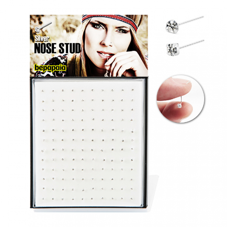 Easy to bend silver nose stud with white cubic zirconia mixed shapes