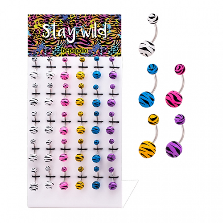 Acrylic belly ring zebra colours