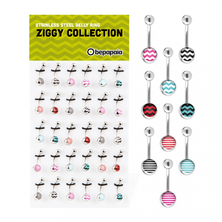 Belly ring with zig zag prints