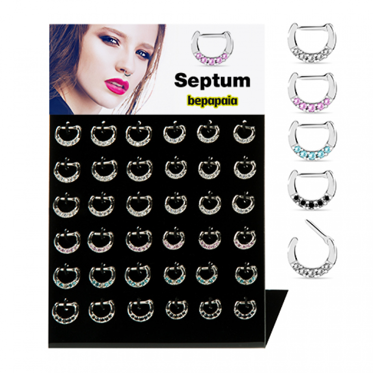 Jewelled septum ring with clip closure