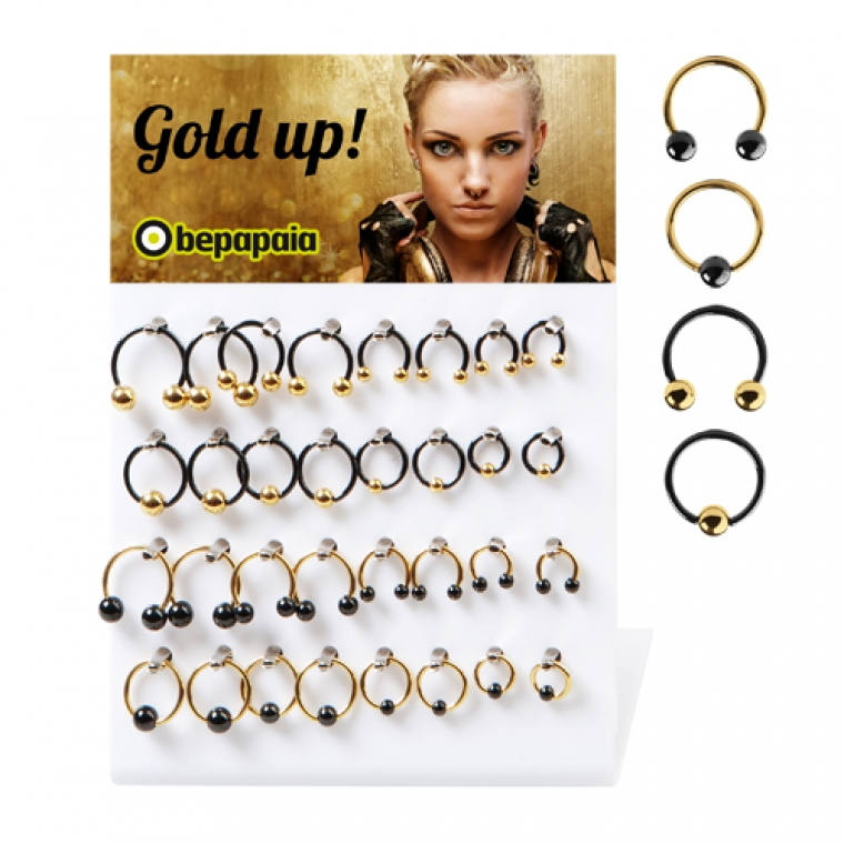 Gold and black stainless steel circular barbell and ball closure ring 1.2 mm