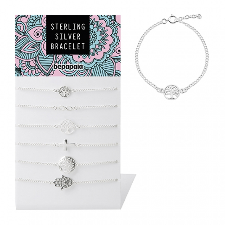 Silver bracelet with assorted designs