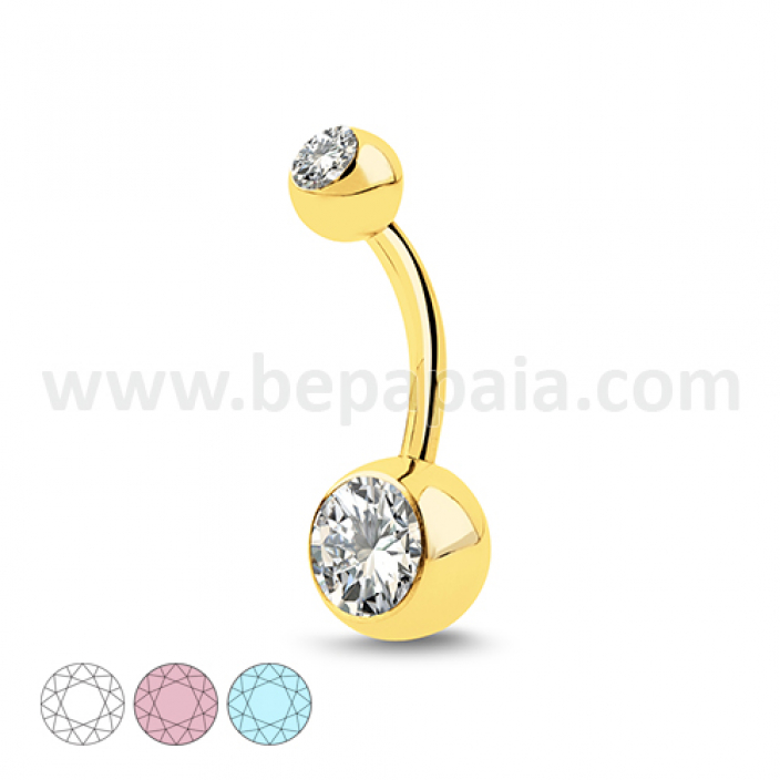 Gold steel belly banana with 2 gems assorted colors