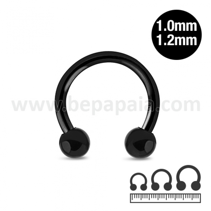 Circular barbell in acciaio nero  1.0 & 1.2mm