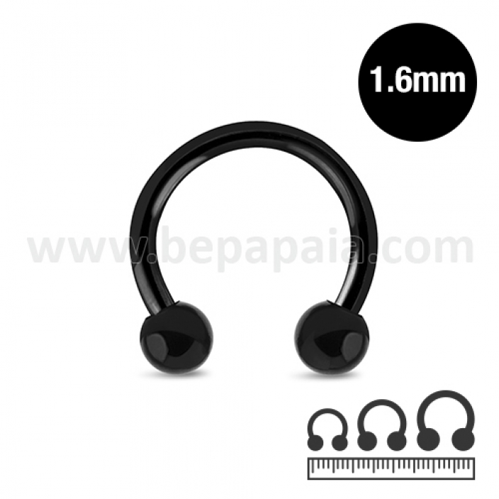 Circular barbell in acciaio nero  1.6mm