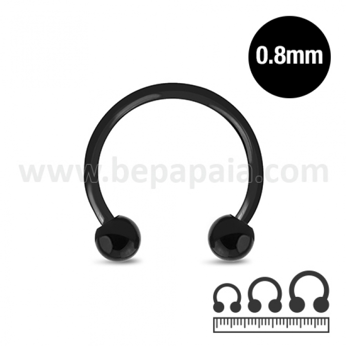 Circular barbell in acciaio nero  0.8mm