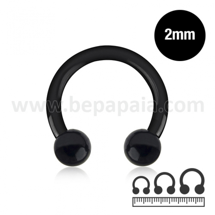 Circular barbell in acciaio nero  2mm