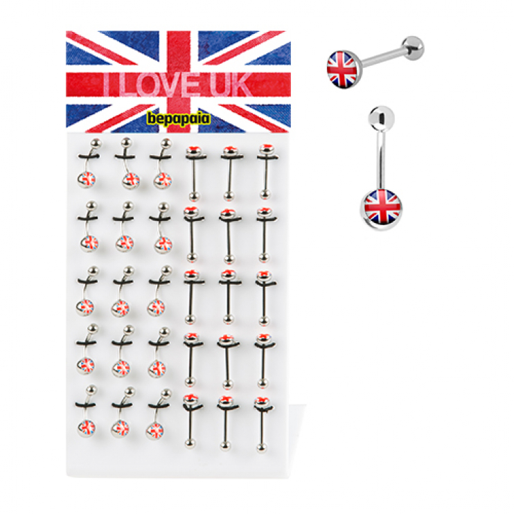Steel belly ring & tongue UK